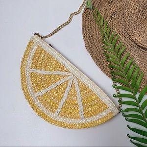 TALBOTS Lemon Wedge Straw Small Bag